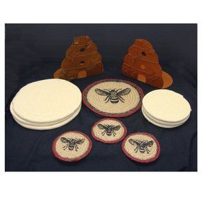 Other - Bee coasters pot holders metal dining decor lot